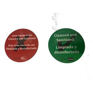 "Table Sign - 6"" Round - Reversible - Sanitized/Non Sanitized Message - English/Spanish"