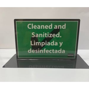 "Table Sign - 8""X10.5"" Self Standing - Reversible - Sanitized/Non Sanitized Message - English/Spanish"